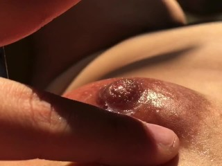 Massaging my boobs with my own vaginal fluids – Nipple playing