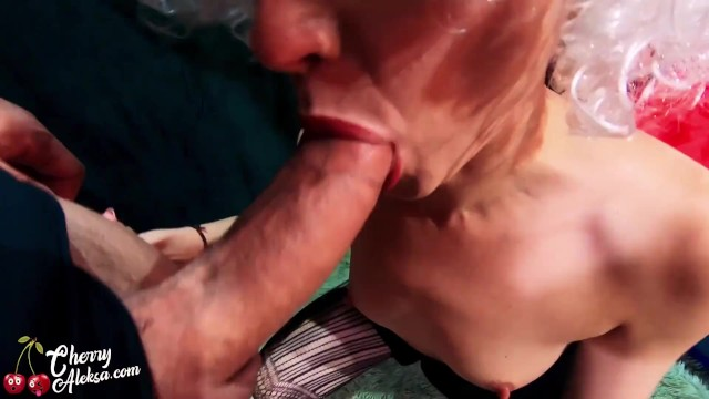 Cum swallowing fucked Wife in white wig deep sucking dick and fucking all hole - cum swallow