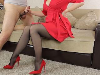 Teen school teacher in pantyhose her student...