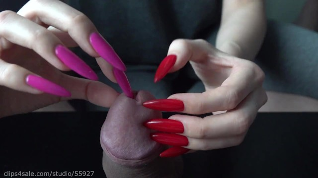 Free long playing sex movies - Long red nails play with peehole