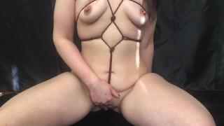 Goth self bondage and Bad Dragon masturbation