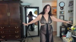 Mature Bbw natural woman, boobs, belly butt dancing naked in transparency