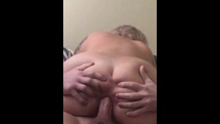 Horny blonde milf gives head, squirts, and has a quarantine anal creampie