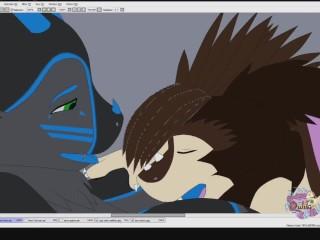 Gojira and bat blowjob speedpaint commission...