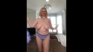 Annabel's blue white striped bikini striptease