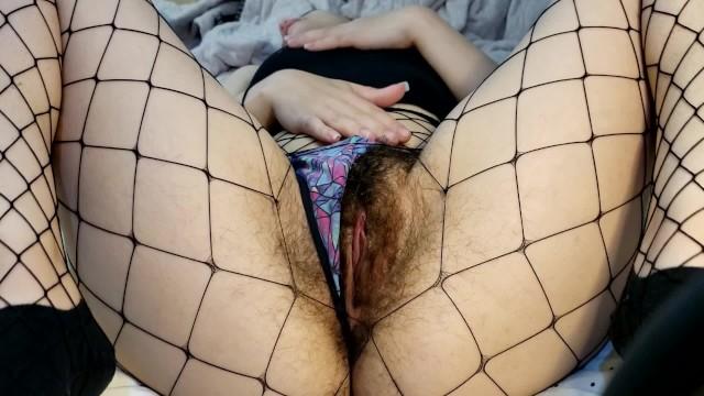 Teens with hairy bush Enjoy my hairy pussy in fishnets bush