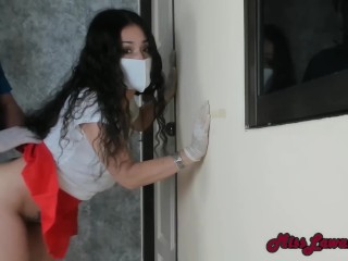 Giving Pizza Guy Blowjob