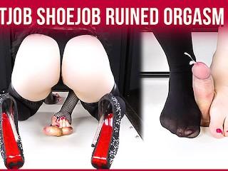 CockBox Handjob Torture & High Heels Footjob with Ruined Orgasm | Era
