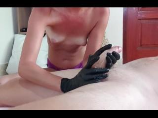Topless black gloves handjob...
