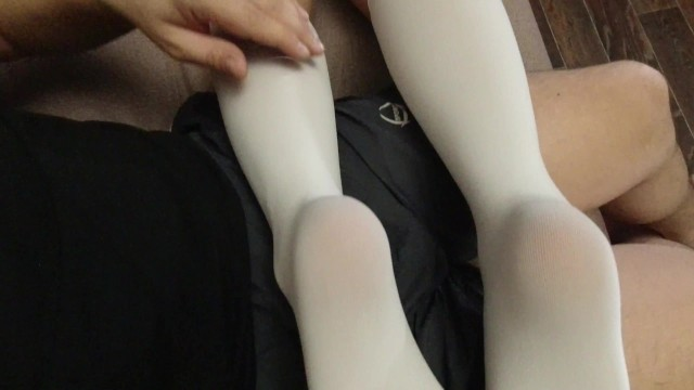 Hot and sexy babes in socks Sexy soles feet fetish girl in schoolgirl uniform white knee socks