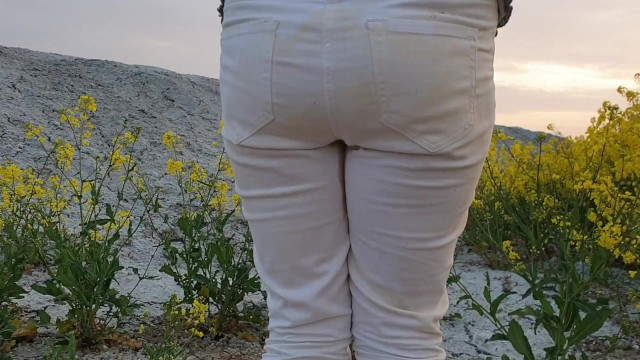 Cum stained panties for sale - Alice wetting her pee stained white jeans in nature from our compilation