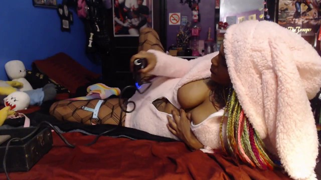 Cute submissive black girl playing with violet wand toy 10