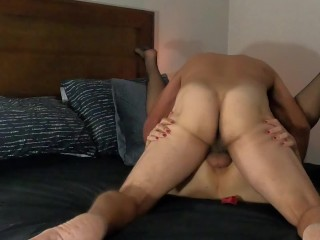 Quick hard pounding ending with creampie