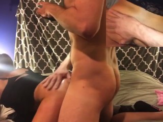Misha gets fucked hard doggy style with a cream pie finish