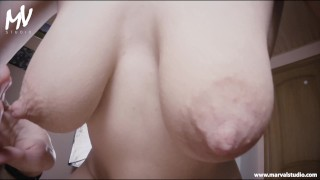 ♥MarVal - Behind The Scenes Female And Male POV   Big Saggy Lactating Tits♥