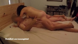 Desperate cowgirl cums for 20 min then collapses with creampie