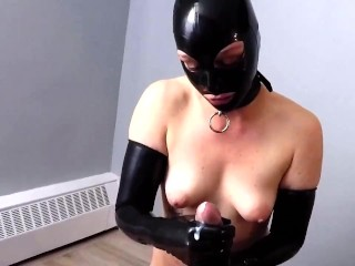 Happy ! Smoking Blow job, gloved Hand Job with Latex Hood and Gloves
