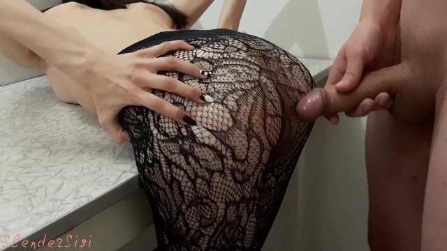 Docoke and stick things in your ass - Nice to stick between your legs in fishnet tights slendersisi