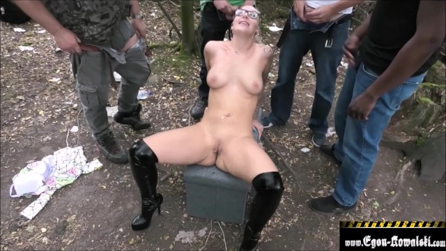 Teen experimenting with sex and dog Dogging experiences in the forest with strangers / part 2