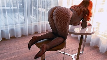HOT REDHEAD FISHNET BODYSUIT DOGGY Premature CreamPie in Hairy Ginger Pussy