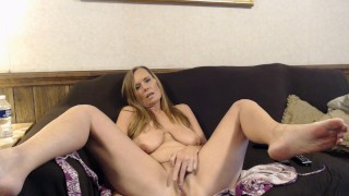 Milf has to rub out orgasm while showing how she plays with her fat pussy