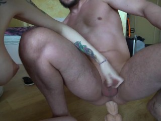 The girl pegging the guy and fucks him with a dildo, cumshot twice jumping