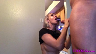 Busty blond gets some extra protein before dinner