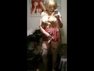 Anime sissy schoolgirl slut shows off her hard...