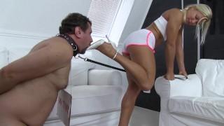 Sadistic Glamour Girls have shoe cleaning slaves
