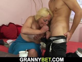 Old blonde woman banged...