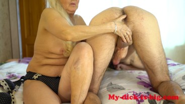 Grandma milks cock step grandson. 70 year old granny. My-dick-is-big 4K