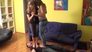 femdom ladies trample slaves together