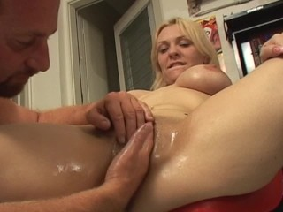 Blonde with and hairy pussy gets fisted and...