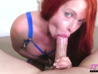 Super busty redhead gives great head...