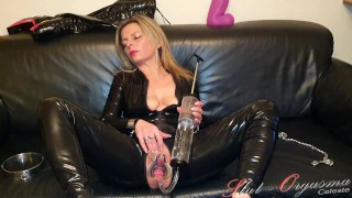 Slave Slut-Orgasma Celeste Latex Enema Speculum Orgasm