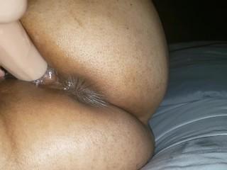 Latina MILF fucking her pink pussy with big dildo