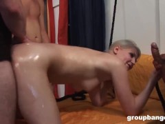Flexible MILF takes care of the Gang