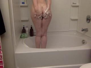 I strip naked for a shower and masturbate to orgasm for you