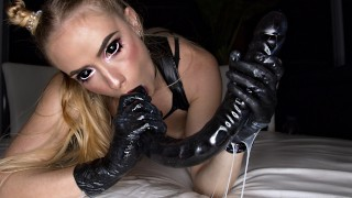 controlled orgasm in latex catsuit