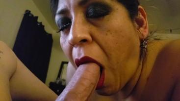 Hispanic cougar enjoying hard cock like candy