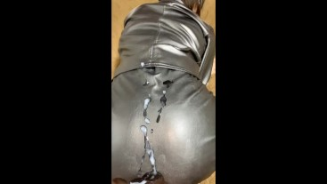 cum on leather tight skirt  clothed sex