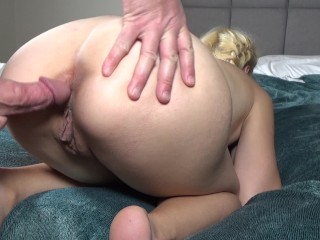 Horny Teen Slut Sucks Cock While Fingering Ass and Begging for Anal Sex