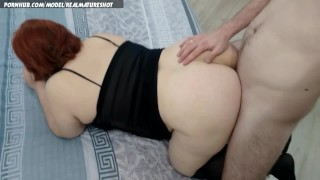 Redhead mature chubby doggystyle pussy creampie