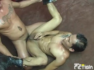 Two tattooed have rough anal sex floor...