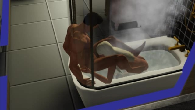 Virtual sims sex game Blowjob in the shower made a sister porno game, 3d, sims sex