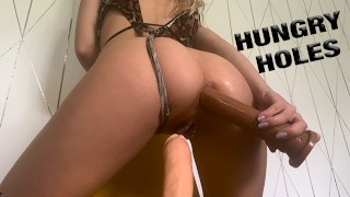 HORNY TEEN NEEDS two DICKS IN HER TIGHT HOLES | LaraJuicy