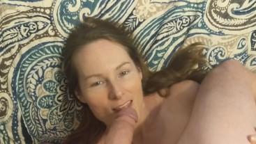 Long sensual ball licking until messy facial POV cumshot