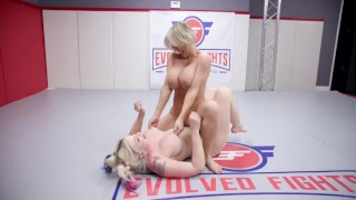 Rough lesbian wrestling with Dee Williams finger fucking Leya Falcon