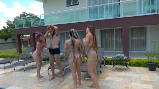 Three Best Friends Share One Big Dick - Brazilian Lesbian Teens - Orgy
