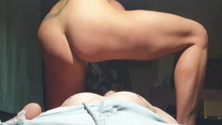 Femdom milf rides chained guy's BBC face strapon